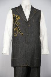 JA129 Mens Stylish Black Panther Embroidered Denim Notch Lapel