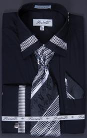 J889 French Cuff Dress Shirt Tie Hanky and Cuff