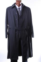 Liquid Jet Black Full Length All Year Round Raincoat-Trench