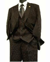 V8935 pronounce visible Gangester Boss Classic Pinstripe Suits for