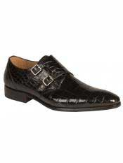 MO521 Mezlan Brand Black Genuine Alligator Double Monk Strap