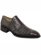 MO530 Mezlan Brand Black Genuine Crocodile Loafer Shoes