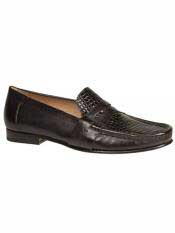 MO558 Mezlan Brand Black Genuine Crocodile Loafer Shoes