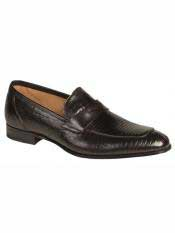 MO555 Mezlan Brand Black Genuine Lizard Loafer Shoes