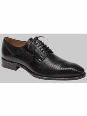 MO561 Mezlan Brand Black Genuine Lizard Shoes