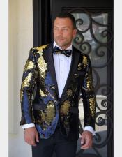JSM-5905 Mens Single Breasted Black/Gold/Blue Sequin Paisley Black Satin