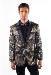 JSM-6766 Mens Flashy Unique Shiny Fashion Prom Sequin Blazer