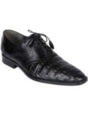 JSM-4982 Mens Oxfords Black Genuine Crocodile Caiman Belly Los