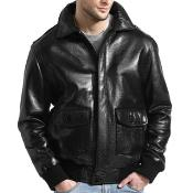 AC-211 Liquid Jet Black Lambskin Leather Bomber Jacket Liquid