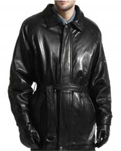 PN-K7 Lambskin Leather Belted 3/4 Coat With zip-Out Liner