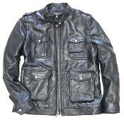 KA7582 Military Field Inspired Lambskin Leather Jacket - Zip
