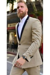 JSM-6841 Mens 1 Button Single Breasted Tan Tuxedos