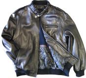 KA6545 Leather Bomber Jacket Soft Lambskin Liquid Jet Black