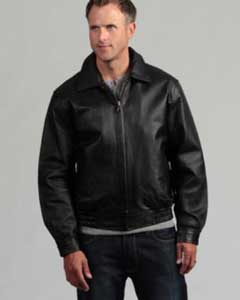 AC-203 Pig Napa Leather Bomber Jacket Liquid Jet Black