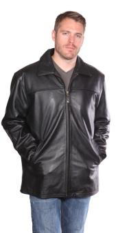 PN78 Camden Leather Hipster Coat Liquid Jet Black Available