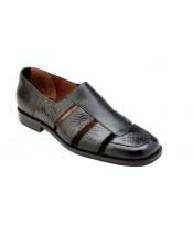 GD1759 Mens Black Leather Genuine Alligator~Italian Calf Sandals