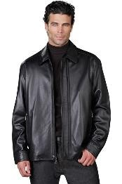 Leather Jacket Liquid Jet Black