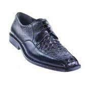 KA1527 Liquid Jet Black Basket Wave Genuine Lizard Shoes