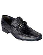 Mens Black Genuine Ostrich Los