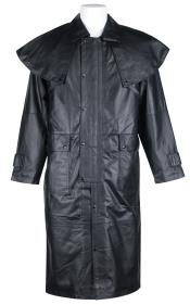 1003 Long Leather Duster Trench Coat Liquid Jet Black