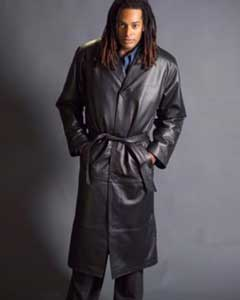 22389 Long Leather Duster Trench Coat Liquid Jet Black