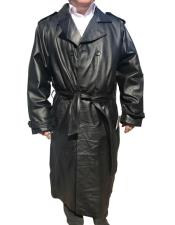 CH1574 Mens Black Real Leather Long Trench Coat ~