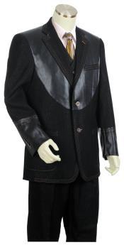 JA48 Mens Button Fastener Black Notch Lapel Zoot Suit