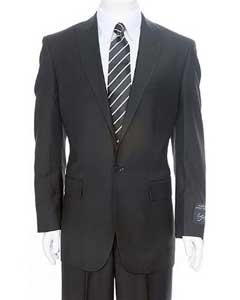 BL467 Liquid Jet Black 1-One button Peak Lapel Suit