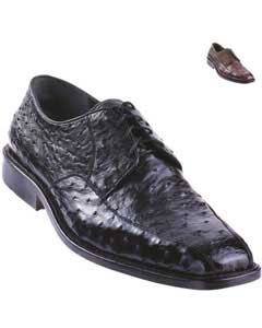 P90P Exotic Ostrich Oxford Shoe Liquid Jet Black