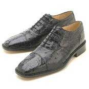 WJK611 Oxfords Liquid Jet Black Croc/Ostrich Lace-Up