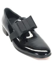 JSM-5578 Mens Black Genuine Patent leather with bow tie