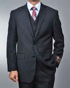 FR6699 Liquid Jet Black Pinstripe 2-button Vested Suit