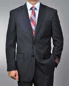 RG1456 Liquid Jet Black Pinstripe 2-button Suit