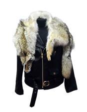 AP623 G-Gator - 3018 Black Raccoon/Lambskin Zipper Closure Jacket