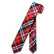 NV6799 Narrow NeckTie Skinny Liquid Jet Black red color