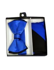 CH1696 Mens Black/Royal Blue Polyester Satin dual colors classic
