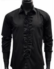 JSM-5120 Mens classic Black Ruffled Dress 100% Cotton casual