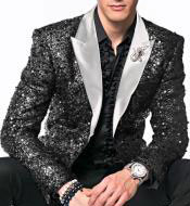 mens Black Sequin paisley Dinner
