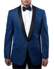 JSM-5050 Mens Blue Slim Fit Tuxedo Jacket Pattern Black