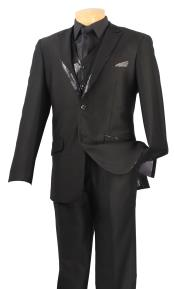 5C99 Satin Shiny 3 Piece Tuxedo - Fancy Sequin