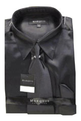 NK121 New Liquid Jet Black Satin Dress Shirt Tie