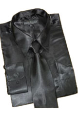 MS453 Satin Liquid Jet Black Dress Shirt Tie Hanky
