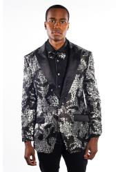 JSM-6767 Mens Black/Silver Flashy Unique Shiny Fashion Prom Sequin