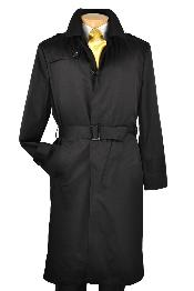 VN0222 Liquid Jet Black Single Breasted Trench Coat