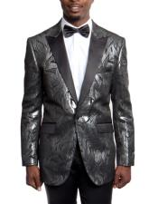 JSM-5046 Mens Black Slim Fit 1920s Tuxedo Style Jacket