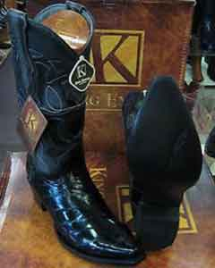 SS-9657 King Exotic Boots Liquid Jet Black Snip Toe