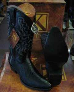 SM200 King Exotic Liquid Jet Black Western Cowboy Boot