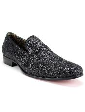 SM5122 Mens Slip On Style Synthetic Amazing Glitter Black
