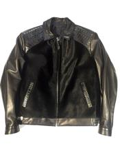 AP632 G-Gator - Pony/Crocodile/Lambskin Black Trimmed Collar Bomber Jacket
