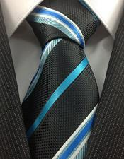 JSM-3994 Mens Necktie Stylish Black Turquoise and White Stripe